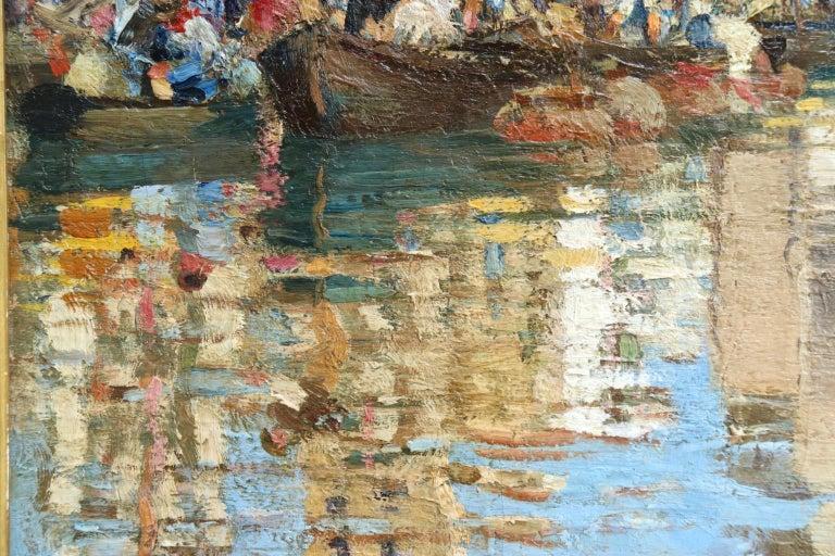 Chioggia - Venice - Impressionist Oil, Figures in Canal Landscape - Alfred Smith For Sale 3