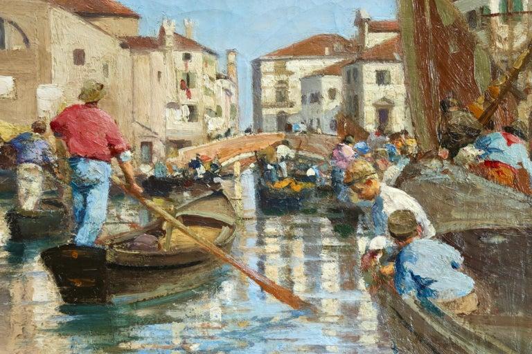 Chioggia - Venice - Impressionist Oil, Figures in Canal Landscape - Alfred Smith For Sale 5