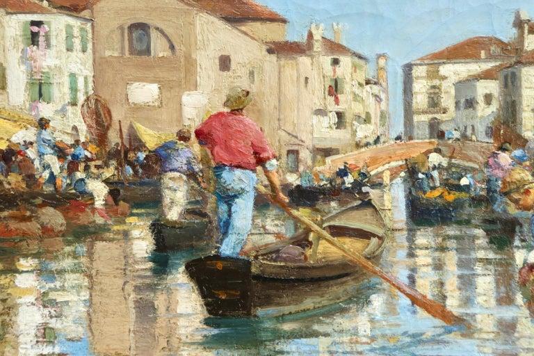 Chioggia - Venice - Impressionist Oil, Figures in Canal Landscape - Alfred Smith For Sale 6