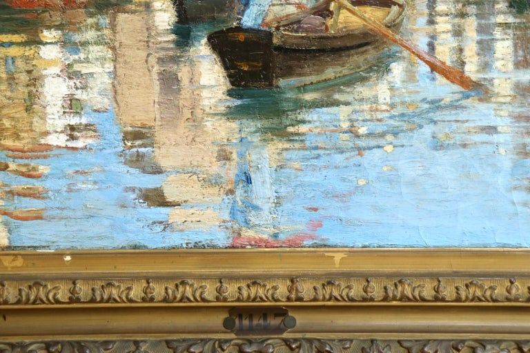 Chioggia - Venice - Impressionist Oil, Figures in Canal Landscape - Alfred Smith For Sale 7