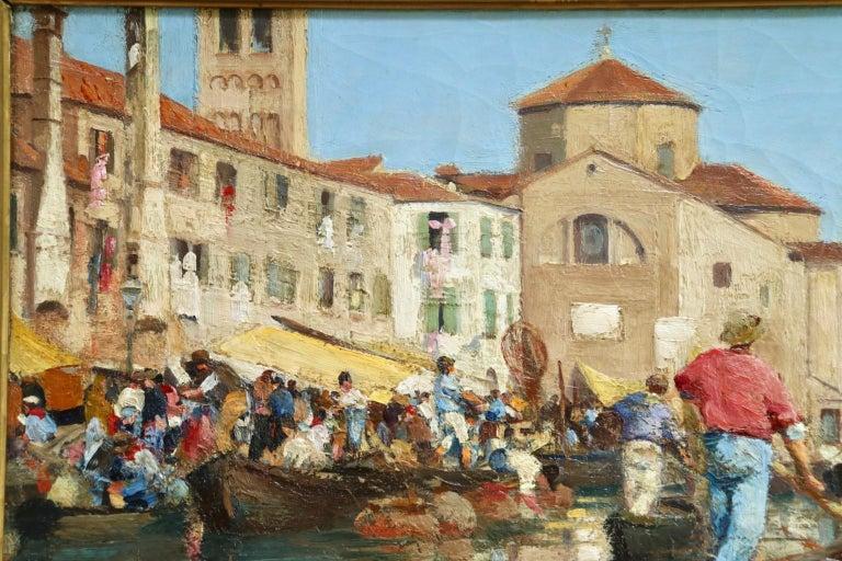 Chioggia - Venice - Impressionist Oil, Figures in Canal Landscape - Alfred Smith For Sale 9