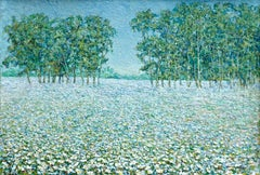 Champ de Fleurs - Impressionist Oil, Trees & Flowers in Landscape by B O Malone
