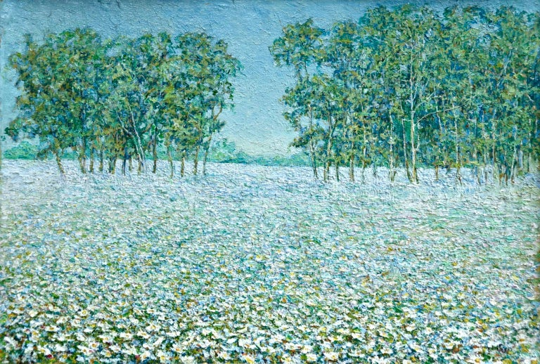 Champ de Fleurs - Impressionist Oil, Trees & Flowers in Landscape by B O Malone - Painting by Blondelle Octavia Malone