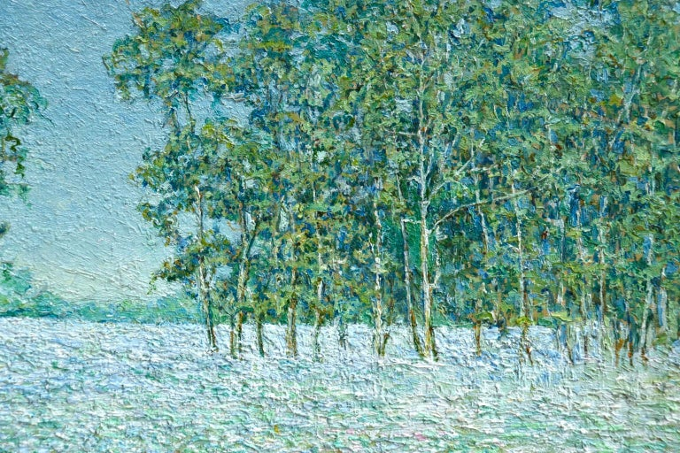A stunning oil on board by American Impressionist painter Blondelle Octavia Malone depicting a field of flowers and trees on a bright, summer's day. The piece is beautifully painted in thick impasto. Signed and dated 1904 lower right. This work was