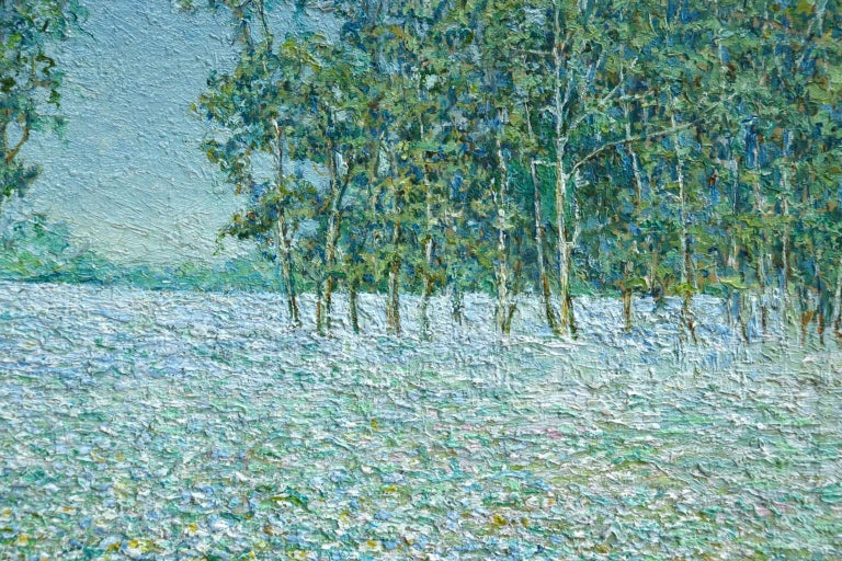 Champ de Fleurs - Impressionist Oil, Trees & Flowers in Landscape by B O Malone For Sale 1