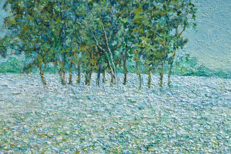 Champ de Fleurs - Impressionist Oil, Trees & Flowers in Landscape by B O Malone For Sale 2
