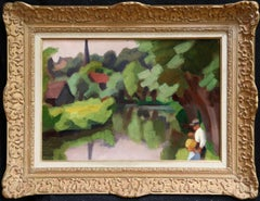 L'Epte a Dangu - Normandy - Modernist Oil, Figures in Riverscape by Jules Zingg