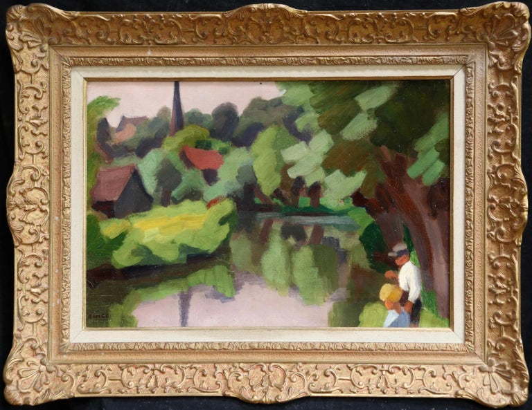 Jules Emile Zingg Figurative Painting - L'Epte a Dangu - Normandy - Modernist Oil, Figures in Riverscape by Jules Zingg