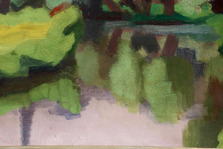 An exceptional oil on canvas by French modernist painter Jules Emile Zingg depicting a man and woman on the bank of a river I'm surrounded lush green trees. The painting is beautifully coloured and brushed. Signed lower left and titled & dated 1928
