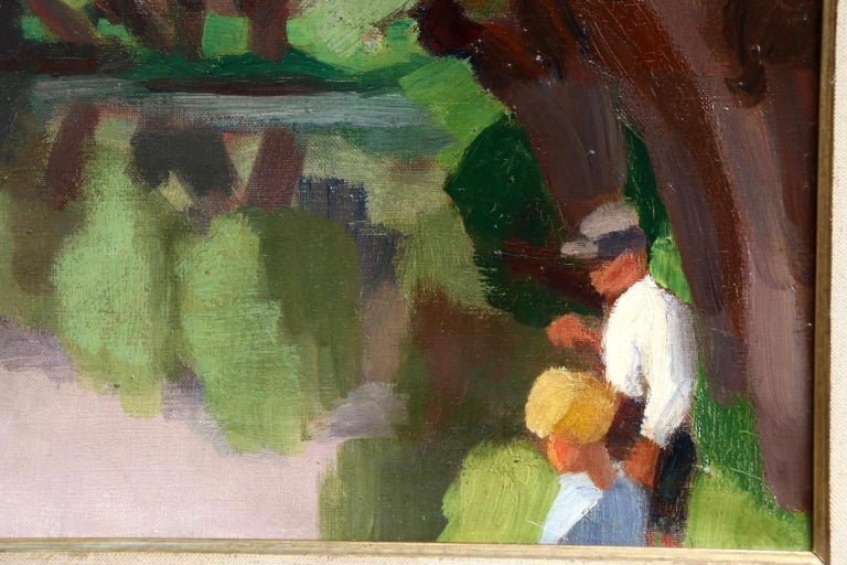L'Epte a Dangu - Normandy - Modernist Oil, Figures in Riverscape by Jules Zingg For Sale 2