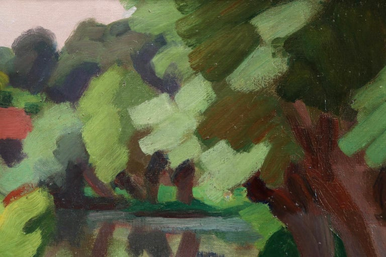 L'Epte a Dangu - Normandy - Modernist Oil, Figures in Riverscape by Jules Zingg For Sale 3