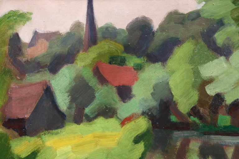 L'Epte a Dangu - Normandy - Modernist Oil, Figures in Riverscape by Jules Zingg For Sale 4