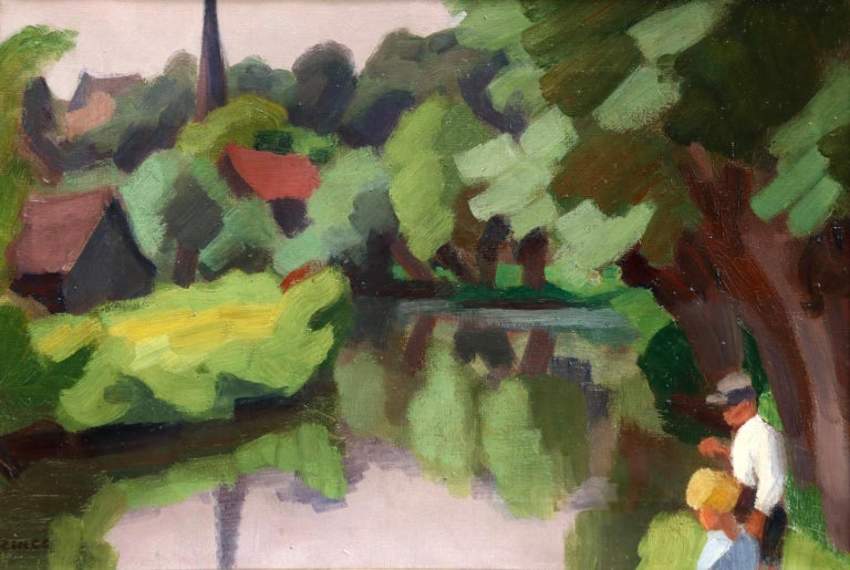 L'Epte a Dangu - Normandy - Modernist Oil, Figures in Riverscape by Jules Zingg For Sale 5