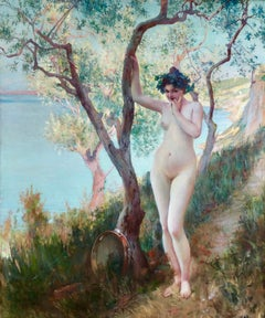The Tambourine Player - 19th Century Romantic Oil, Nude in Landscape - P Gervais