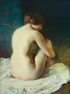 La Baigneuse - 19th Century Impressionist Oil, Seated Nude - Adrien Louis Demont