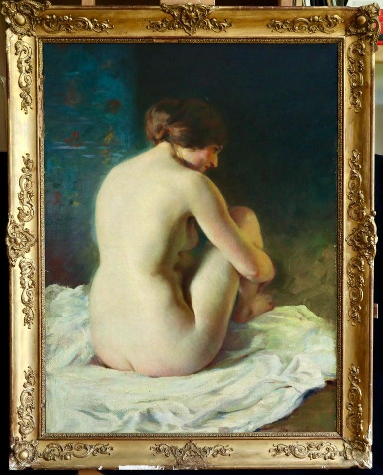 La Baigneuse - 19th Century Impressionist Oil, Seated Nude - Adrien Louis Demont - Black Figurative Painting by Adrien Louis Demont