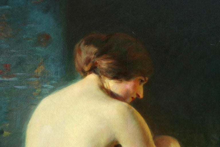 A beautifully painted oil on canvas by French Impressionist painter Adrien Louis Demont, depicting a beautiful nude brunette woman seated on a blanket. The artist was married to Virginie Breton who was the daughter of Jules Breton who greatly