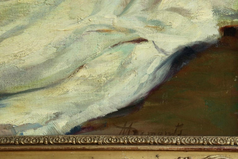 La Baigneuse - 19th Century Impressionist Oil, Seated Nude - Adrien Louis Demont For Sale 1
