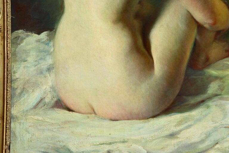 La Baigneuse - 19th Century Impressionist Oil, Seated Nude - Adrien Louis Demont For Sale 2
