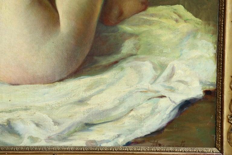 La Baigneuse - 19th Century Impressionist Oil, Seated Nude - Adrien Louis Demont For Sale 4