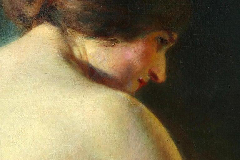 La Baigneuse - 19th Century Impressionist Oil, Seated Nude - Adrien Louis Demont For Sale 5