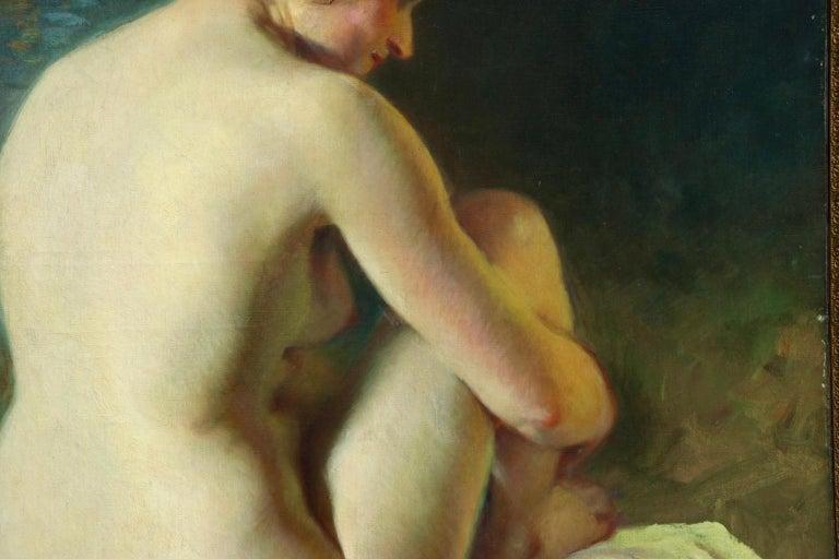La Baigneuse - 19th Century Impressionist Oil, Seated Nude - Adrien Louis Demont For Sale 6