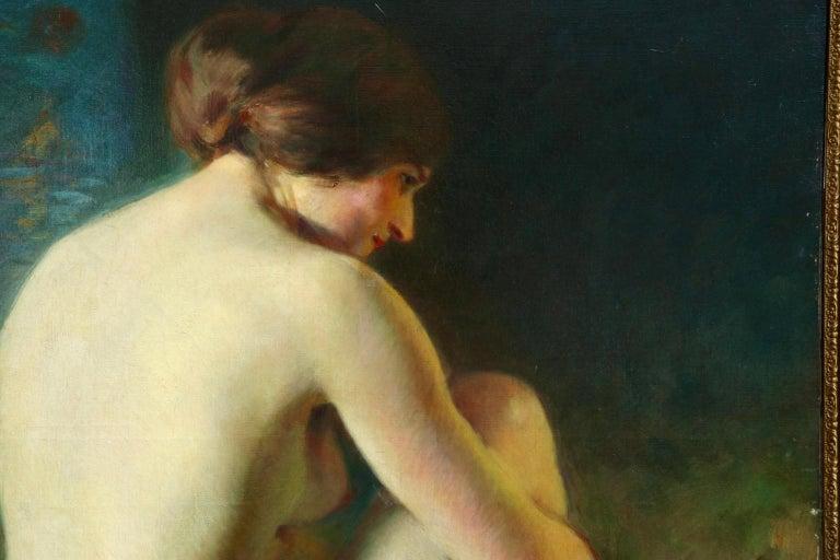 La Baigneuse - 19th Century Impressionist Oil, Seated Nude - Adrien Louis Demont For Sale 7