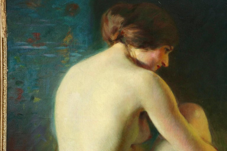 La Baigneuse - 19th Century Impressionist Oil, Seated Nude - Adrien Louis Demont For Sale 8