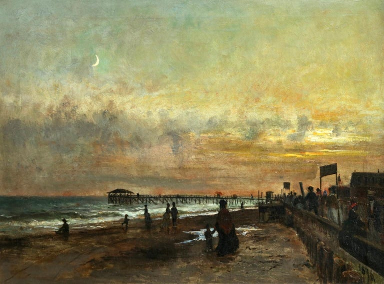 Sunset on the Boardwalk at Cape May, New Jersey 1876 - Landscape - Olof Hermelin - Painting by Olof Hermelin