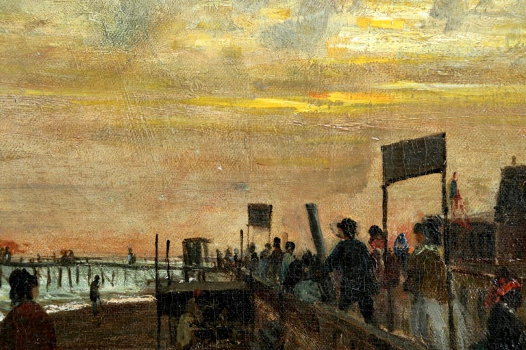 Sunset on the Boardwalk at Cape May, New Jersey 1876 - Landscape - Olof Hermelin - Impressionist Painting by Olof Hermelin