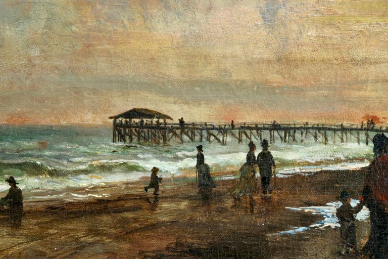 Sunset on the Boardwalk at Cape May, New Jersey 1876 - Landscape - Olof Hermelin - Brown Landscape Painting by Olof Hermelin