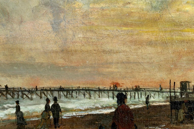 Sunset on the Boardwalk at Cape May, New Jersey 1876 - Landscape - Olof Hermelin For Sale 1