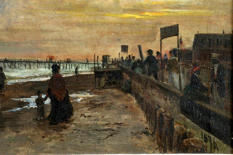 Sunset on the Boardwalk at Cape May, New Jersey 1876 - Landscape - Olof Hermelin For Sale 2