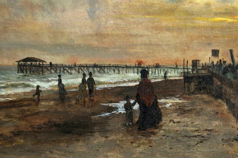 Sunset on the Boardwalk at Cape May, New Jersey 1876 - Landscape - Olof Hermelin For Sale 3