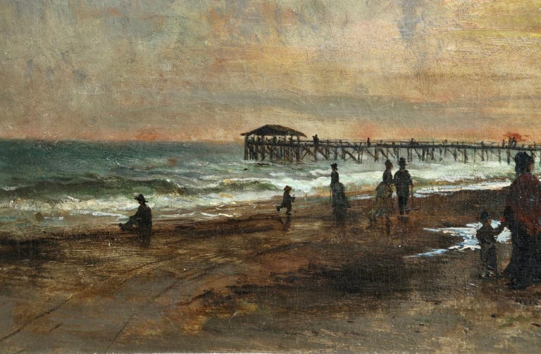 Sunset on the Boardwalk at Cape May, New Jersey 1876 - Landscape - Olof Hermelin For Sale 4