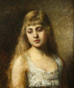 Portrait of Felia Litvinne - 19th Century Oil, Portrait of a Girl by A Harlamoff