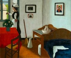 Bonne a la fenetre - Post Impressionist Oil, Figure in Interior by M Borgeaud