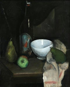 Nature Morte - Cubist Oil, Still Life of Fruit in Interior by Jean Souverbie