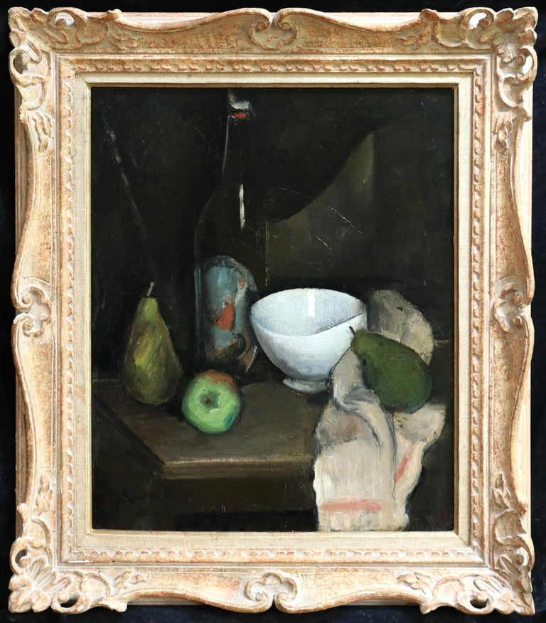 Nature Morte - Cubist Oil, Still Life of Fruit in Interior by Jean Souverbie For Sale 1