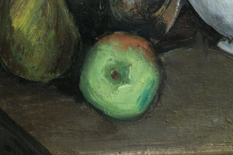Nature Morte - Cubist Oil, Still Life of Fruit in Interior by Jean Souverbie For Sale 2