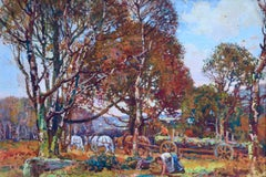 Logging in the Dales - Post Impressionist Gouache, Horses in Landscape - S Royle