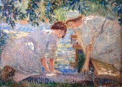 Lavandieres - Impressionist Oil, Women by River in Landscape by Paul Villiers