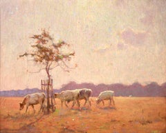 Changing Pastures - Impressionist Oil, Cattle in Landscape by Frederick Hall