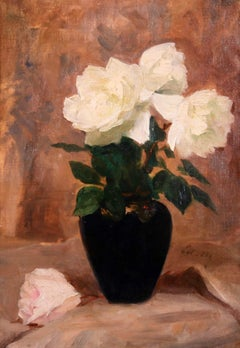 Roses Blanches - Impressionist Oil, Still Life White Flowers, Circle of E Manet