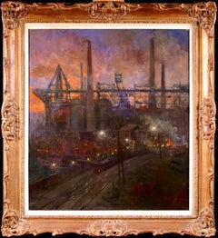 Blast Furnaces - Night - Realist Oil, Industrial Cityscape by Oswald Poreau