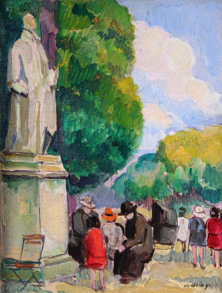 Pierre de Belay Landscape Painting - Le Jardin du Luxembourg - Paris - Post Impressionist Figurative Oil - P de Belay