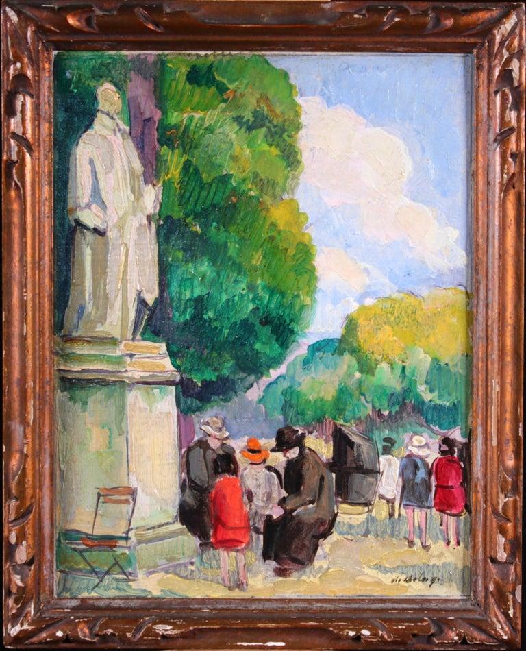 Le Jardin du Luxembourg - Paris - Post Impressionist Figurative Oil - P de Belay - Painting by Pierre de Belay