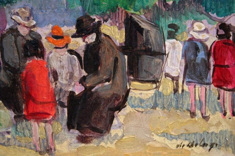 Le Jardin du Luxembourg - Paris - Post Impressionist Figurative Oil - P de Belay For Sale 1
