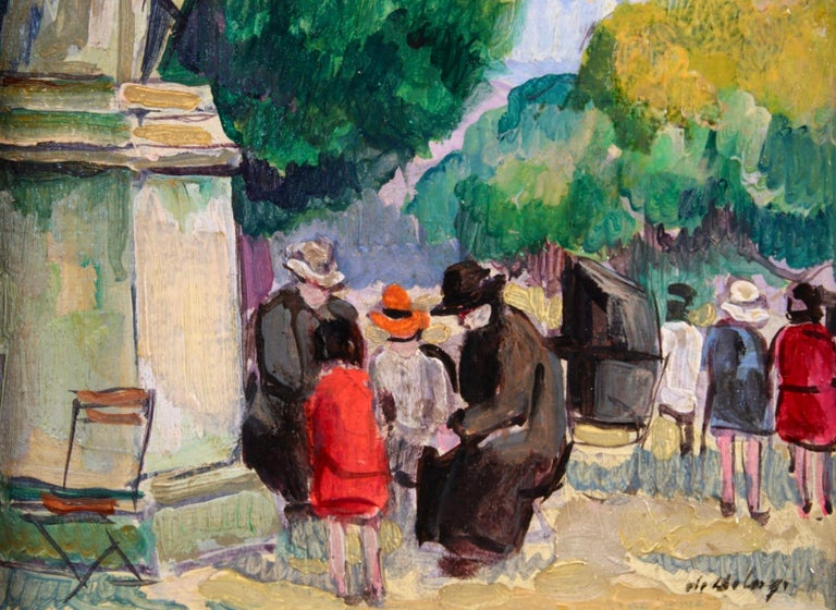 Le Jardin du Luxembourg - Paris - Post Impressionist Figurative Oil - P de Belay For Sale 2