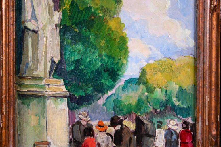 Le Jardin du Luxembourg - Paris - Post Impressionist Figurative Oil - P de Belay For Sale 3